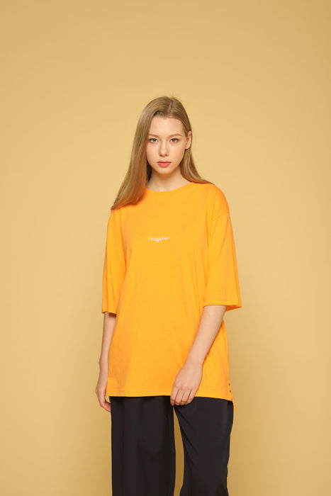 MEGAPHONE Basic T-shirt in Orange Modest Loose Fitting and Long Oversized Orange T-shirt in Cotton