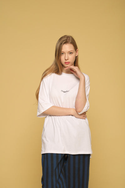 acf066e8a6d MEGAPHONE Basic T-shirt in White Modest Loose Fitting and Long Oversized  White T-