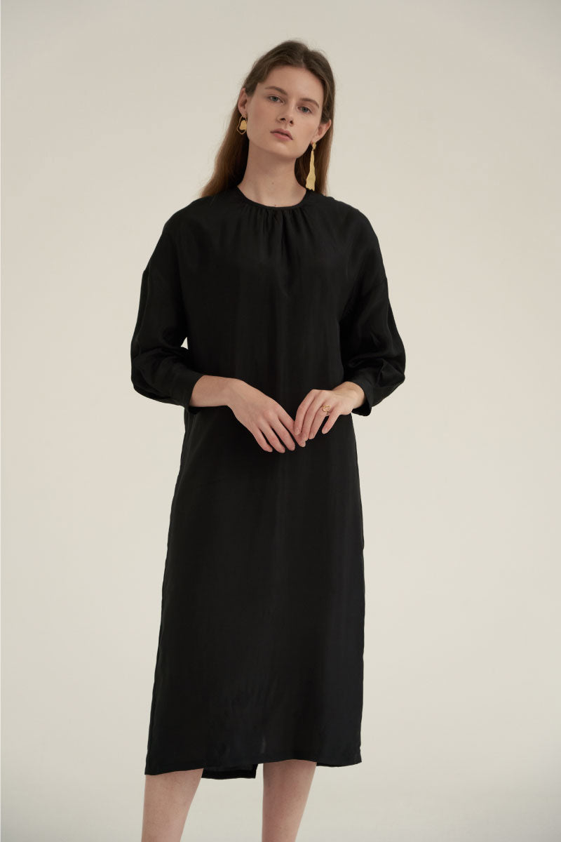 20e079ac3f22 NOTA Shirring Neck Comfort Dress Black Modest Loose Fitting Midi Dress with  Long Sleeves in Rayon