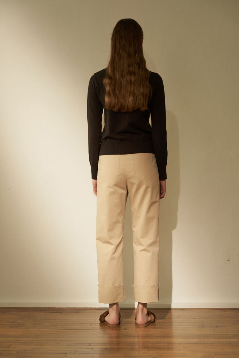 NOTA Cozy Pintuck Roll Up Pants Beige Modest Loose Fitting Long Trousers for Women with Folded Hem in Cotton and Nylon