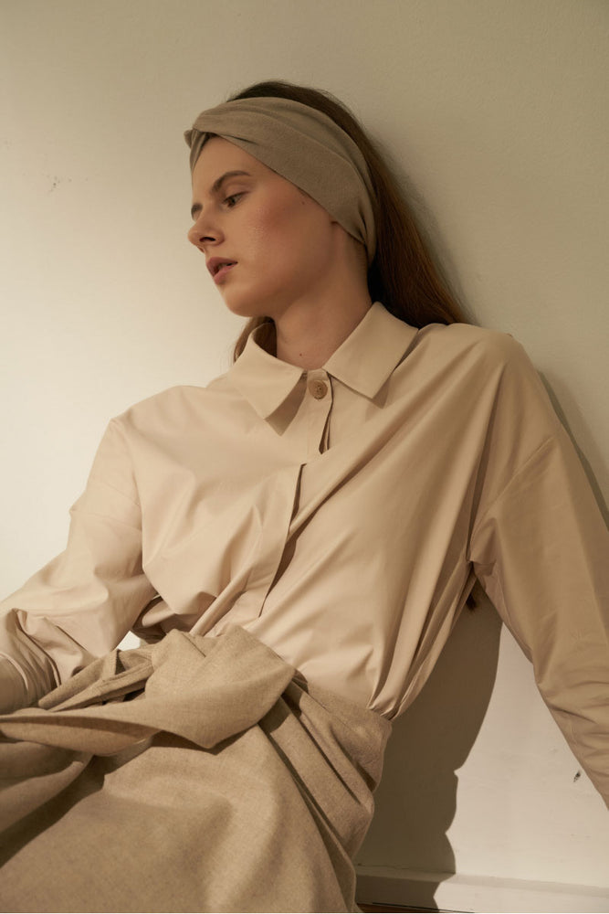 NOTA Point One Button Shirt Beige Modest Loose Fitted Women Shirt in Cotton