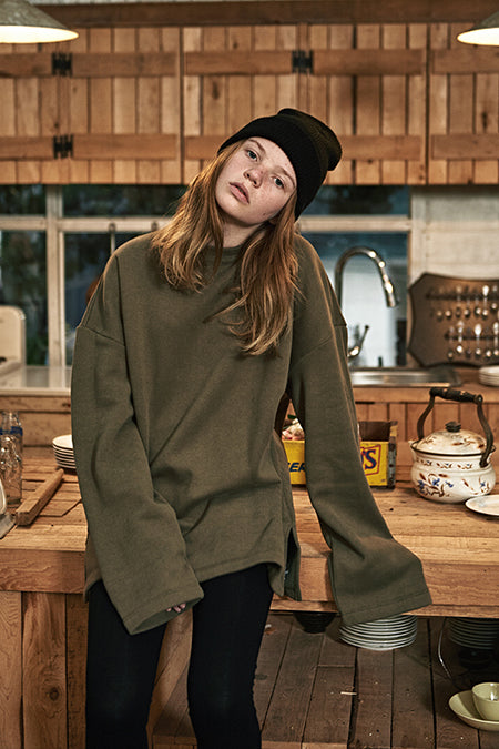 ESTERISK Olive Modest Loose Fitting Oversized Sweatshirt in Cotton and Polyester