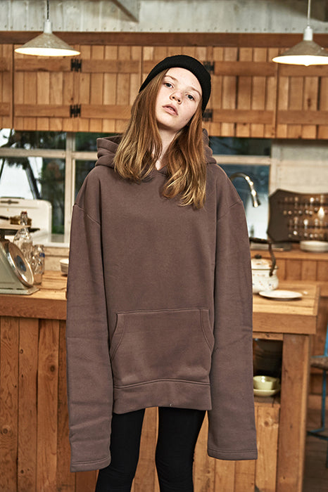 ESTERISK Brown Modest Oversized Long Sleeve Hoodie in Cotton and Polyester with Kangaroo Pocket