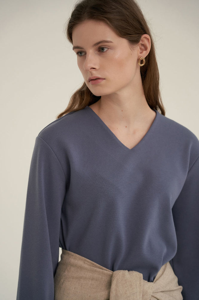 NOTA V-Neck Simple Top Dusty Blue Modest Loose Fitted Top with Long Sleeves in Polyester