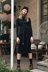 ESTERISK Black Basic Modest Body Fitting Tee in Cotton with Long Sleeves