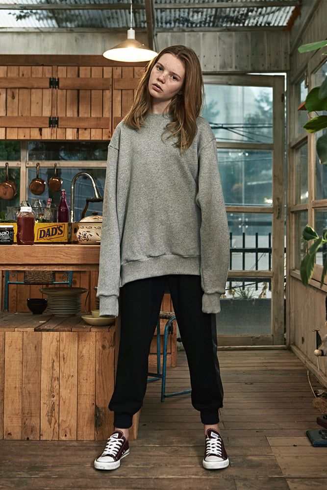 ESTERISK Grey Modest Loose Fitting Sweat Shirt in Cotton with Back Logo