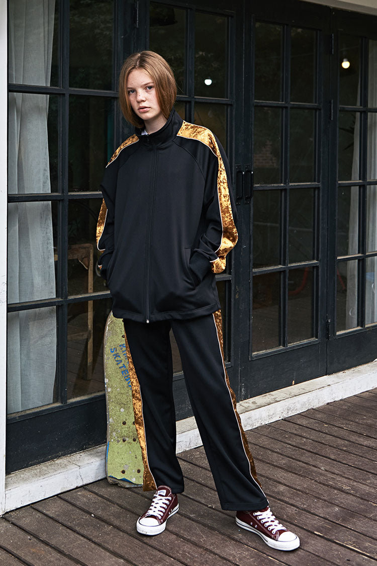 ESTERISK Black Side Line Modest Loose Fitting Elastic Banding Waist Track Pants in Polyester and Spandex