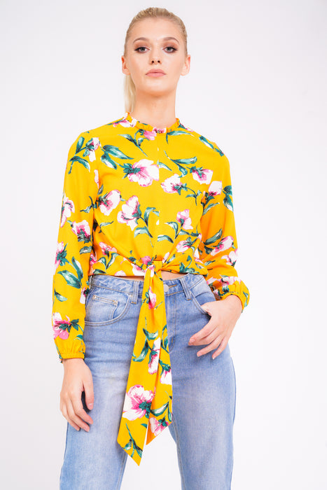 Modest Floral Long Sleeve Tie Blouse with Tie Front