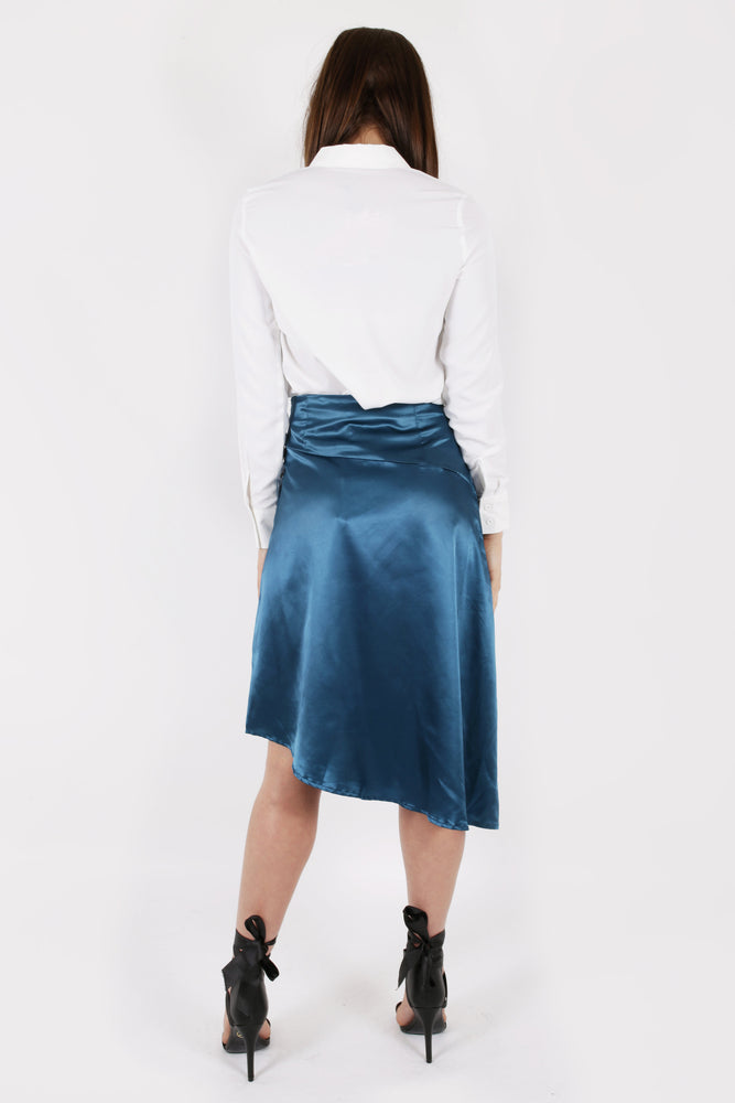 Modest Satin Asymmetric Skirt in Midi Length