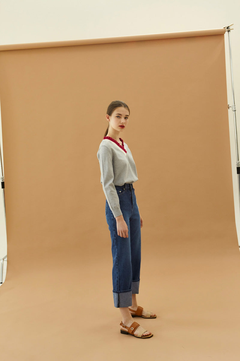 YUPPE Fold Denim Pants in Blue Modest Loose Fitted Jeans with Fold in Cotton