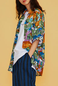 MEGAPHONE Hawaiian Short-Sleeve Shirt Modest Oversized Shirt with Floral Prints in Rayon