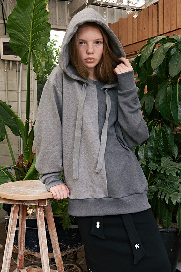 ESTERISK Grey Modest Loose Fitted Cotton Round Neck Outside Hoody