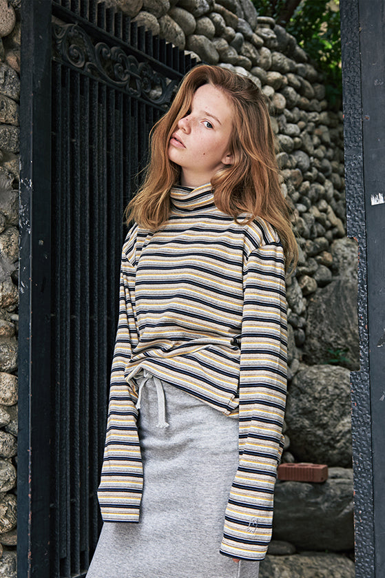 ESTERISK Stripe Turtle Layered Modest Long Sleeve Tee in Cotton