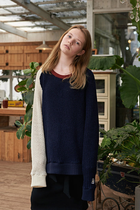 ESTERISK Navy Arthur Modest Long Sleeve Sweater in Acrylic with Full Length