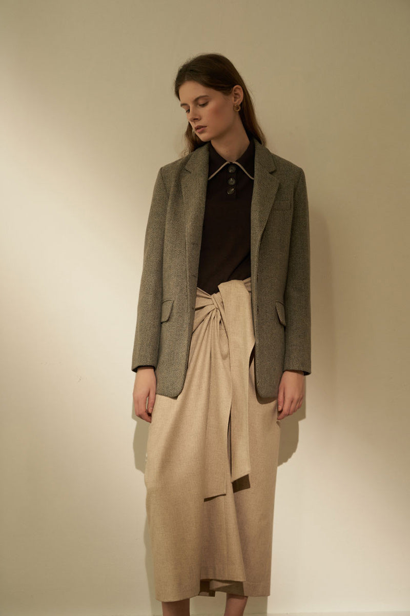 NOTA Twist Thin Wool Skirt Oatmeal Modest Beige Loose Fitting Midi Skirt with Tie Front in Wool