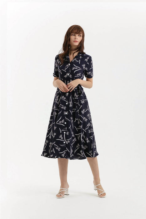 Pineapple Summer Shirt Dress - Navy