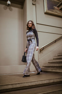 Modest Checked Jumpsuit With Tie Waist Modest Grey in Loose Fitting Black Sash