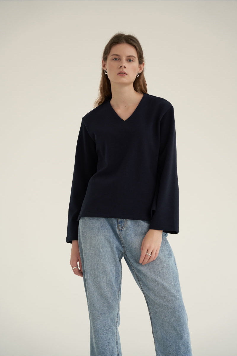 NOTA V-Neck Simple Top Navy Modest Loose Fitted Top with Long Sleeves in Polyester