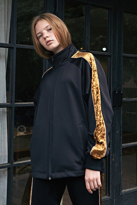 ESTERISK Black VHS Modest Loose Fitting Gold Velvet Sleeve Zipper Track Jacket in Polyester and Spandex
