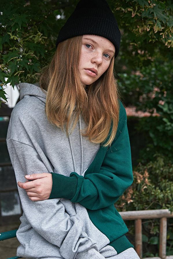 ESTERISK Grey and Green Modest Hoodie in Cotton with Lip Pocket