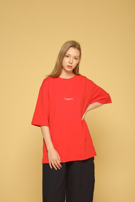 MEGAPHONE Basic T-shirt in Red Modest Loose Fitting and Long Oversized Red T-shirt in Cotton