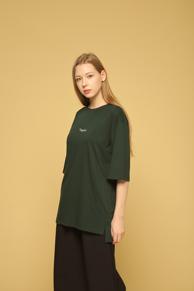 MEGAPHONE Basic T-shirt in Olive Modest Loose Fitting and Long Oversized Green T-shirt in Cotton