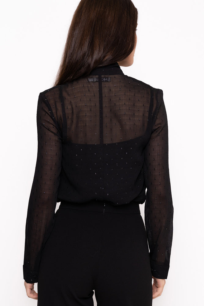UNIQUE 21 Black Blouse With Polka Dots Modest Sheer Shirt with Sash Around Neck Long Sleeve
