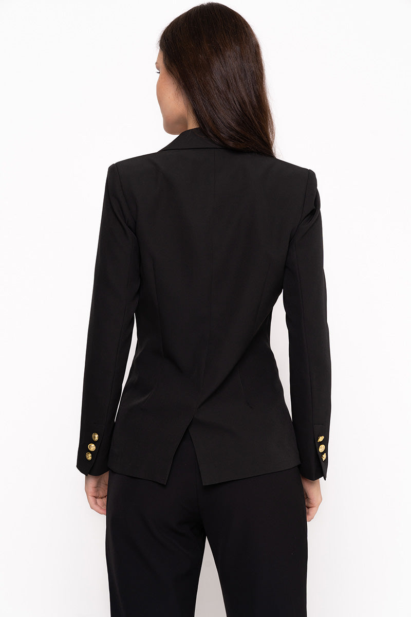 Unique21 Blazer With Gold Button Detail Modest Black Jacket with Single Front Gold Button and Gold Buttons on Lapel and Sleeves with Front Pockets