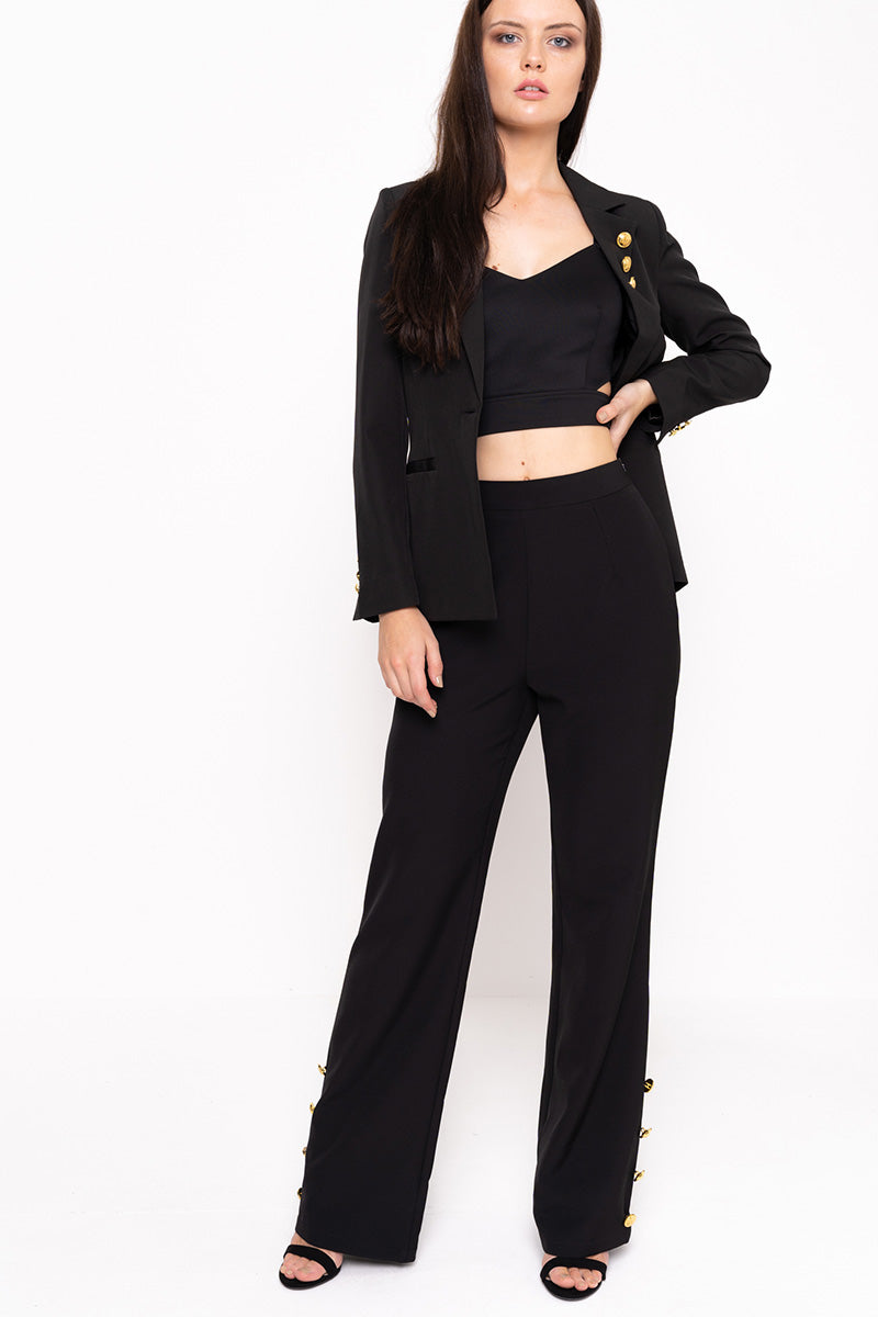 Unique21 Wide Leg Trouser With Gold Buttons Modest Straight Fit Black Pants in Loose Fit