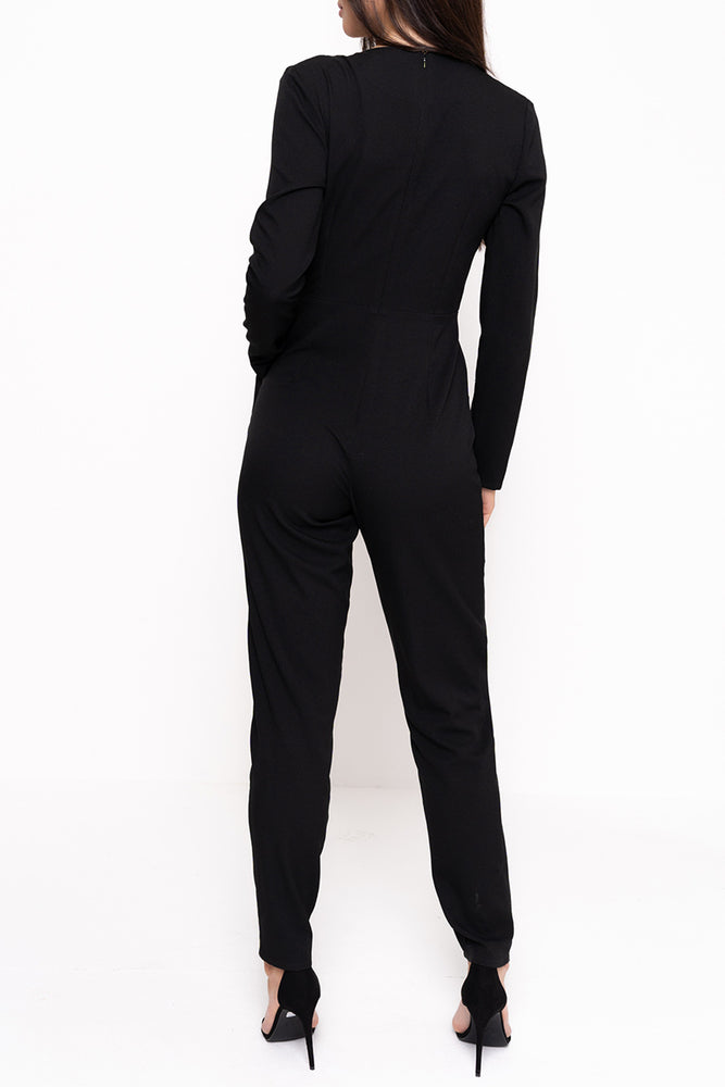 Unique21 Long Sleeve Wrap Around Jumpsuit Modest Black Jumpsuit with V-Neck Wrap Front and Side Pockets