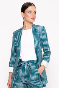 Unique21 Green Stripe Tailored Blazer Modest Blazer with Vertical White Striped and Front Pockets