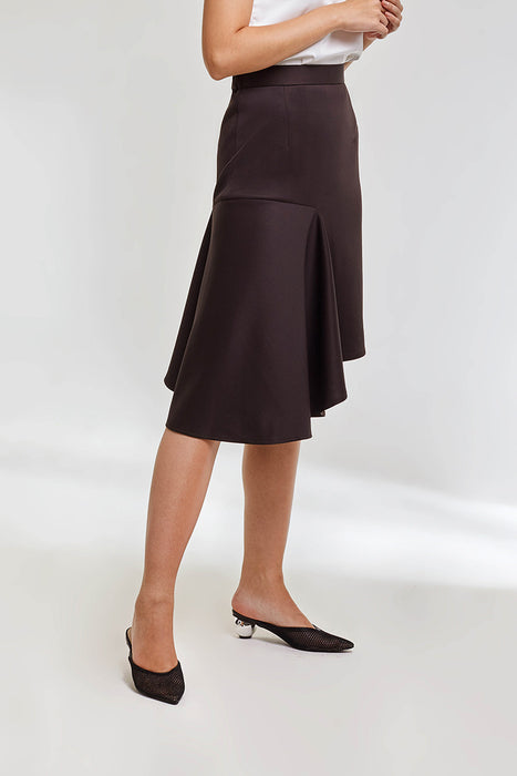 Modest Domani Midi Skirt in Brow with Uneven Hemline in Scuba Fabric