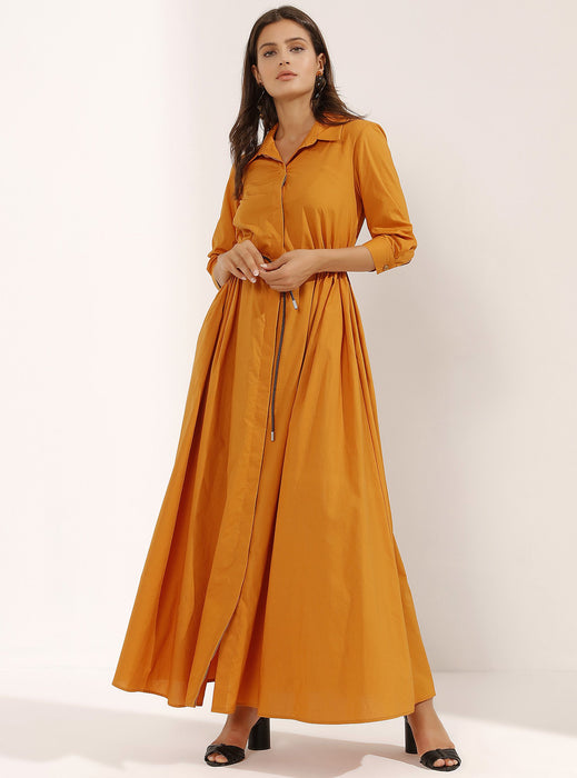 STORE WF Apricot Maxi Dress With Slim Leather Belt Modest Orange Ankle-length Long Shirt Dress with Drawstring Waist 100% Cotton
