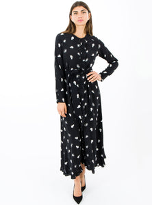 STORE WF Belted Button Through Maxi Dress with Frill Detail Modest Floral Print Black Long Dress in 100% Viscose
