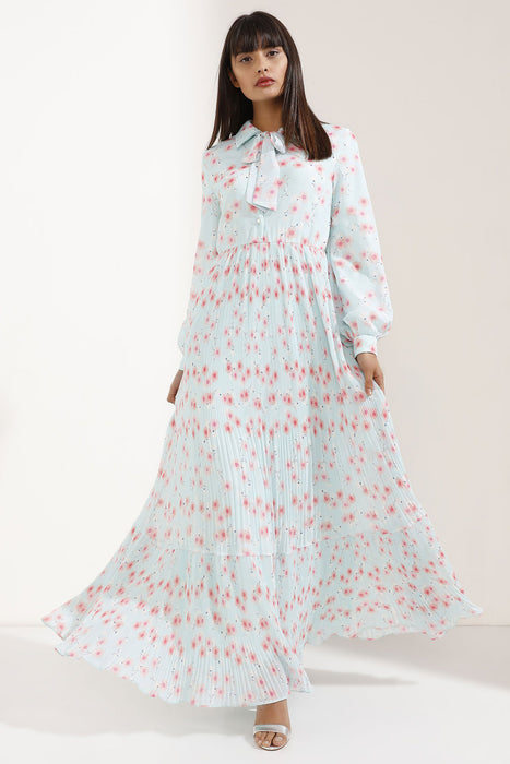 Store WF Baby Blue & Pink Elegant Floral Maxi Dress Modest Loose Fitting Long Sleeves Maxi Dress with Sash Around Neck in 100% Polyester