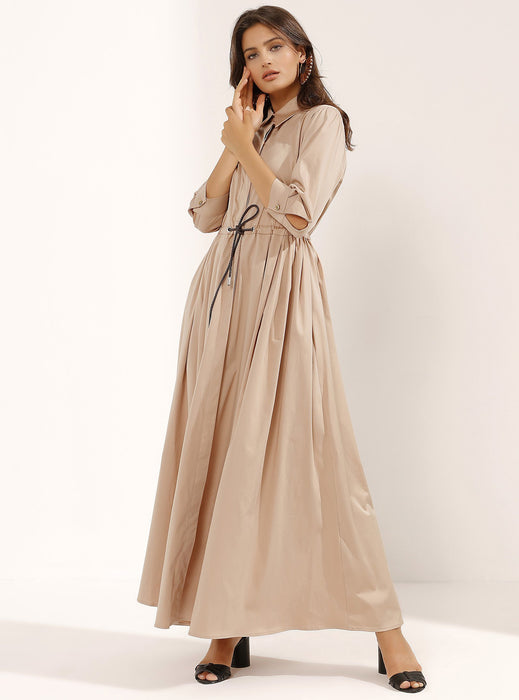 STORE WF Beige Maxi Dress with Hidden Leather Belt Modest Long Shirt Dress With Waist Tie, Mid-length Sleeves in Cotton