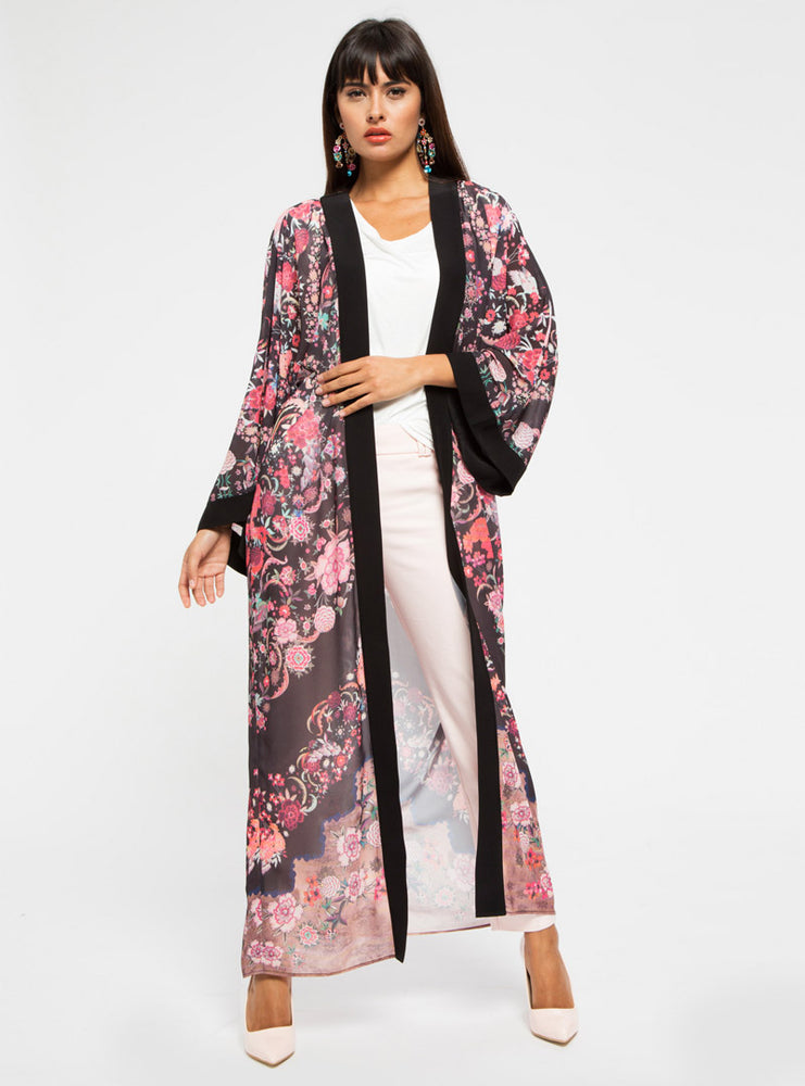 STORE WF Black Contrast Floral Kimono Abaya Modest Long Open Front Kimono with Sleeves and Floral Prints