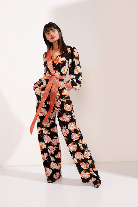 Black and Orange Belted Jumpsuit with Pockets