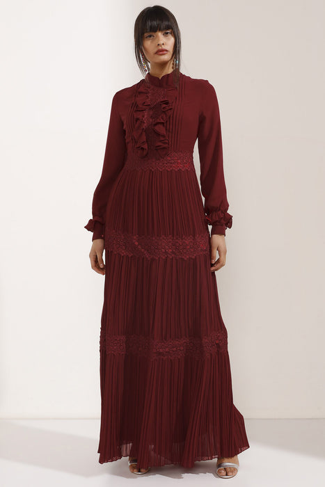 Store WF Burgundy Chiffon Layered Maxi Dress Modest Red Long Sleeves Loose Maxi Dress with Ruffles and Pleats in 100% Polyester