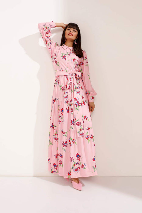 Buttoned Floral Pink Maxi Dress with Waist Belt