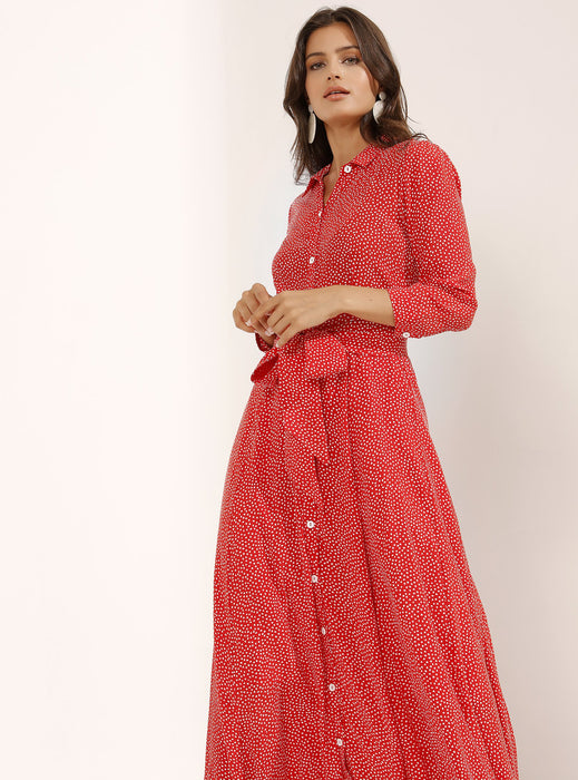 STORE WF Buttoned Through Light Red Dress With Knotted Waist Modest Maxi Shirt Dress With Sash Belt, Polka Dots, Long Sleeves in Viscose