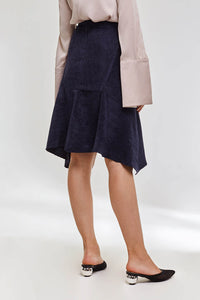 Domani Modest Knee Length Midi Navy Skirt with Asymmetric Hemline in Corduroy