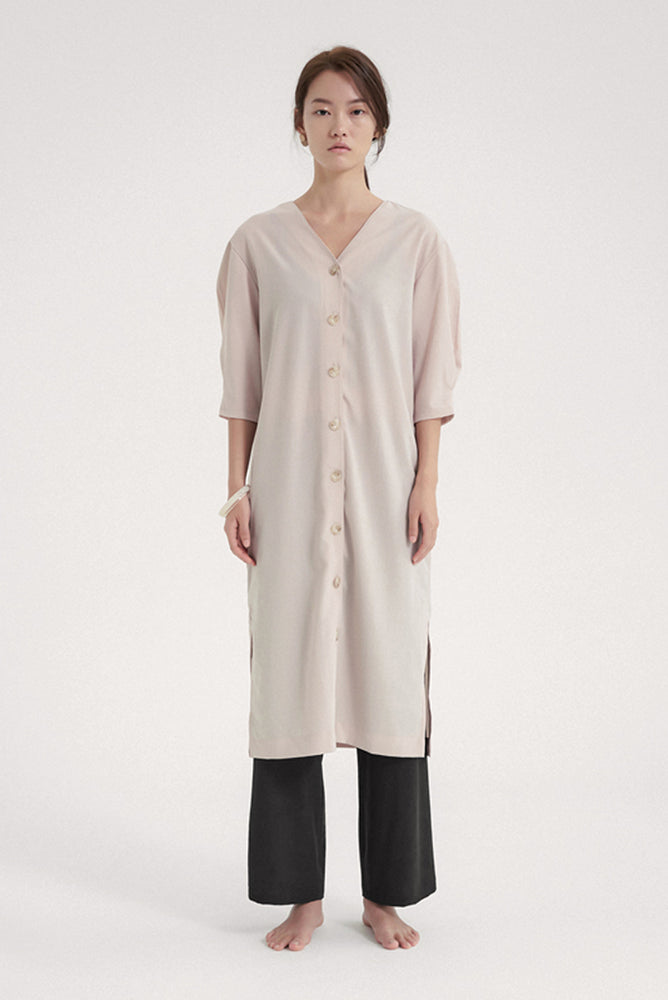 NOTA Capsule Robe Dress Beige Modest Below The Knee Midi Dress in Beige with Front Buttons