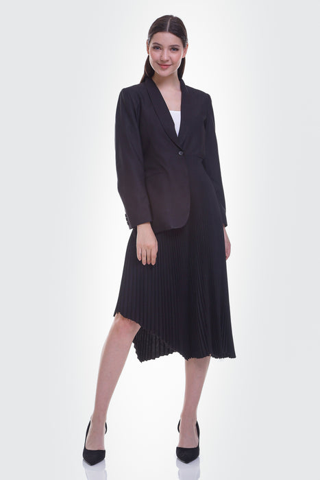 módni Ash Black Dress Modest Midi Dress With Asymmetric Pleats, Long Sleeves and Fake Attached Blazer