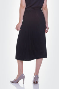 módni collect Sable Pleated Skirt Black Modest Below Knee Length Midi