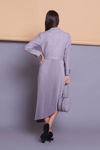 módni Ash Grey Dress Modest Long-Sleeve Midi with Attached Blazer and Asymmetrical Pleated Skirt