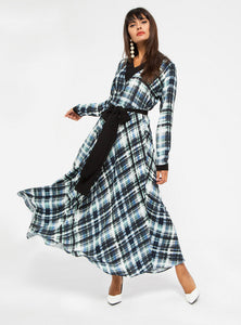 STORE WF Check Print V Neck Maxi Dress Modest Loose Fit Long Dress with Sleeves, Black Checkered Print and Sash