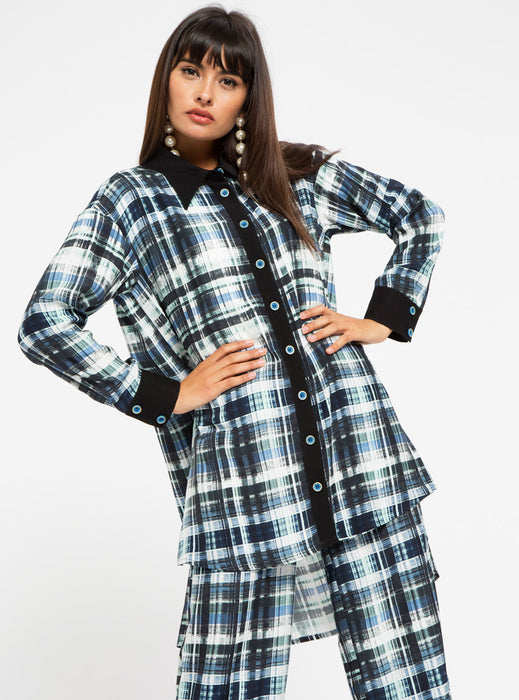 STORE WF Check Print V Neck Maxi Dress Modest Loose Fit Long Top with Sleeves and Black Checkered Print