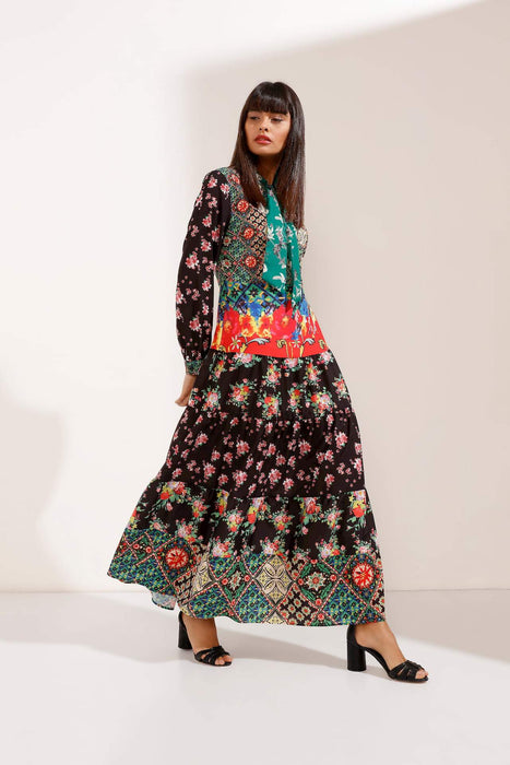Store WF Colourful Patterned Long Sleeves Maxi Dress Modest Colourful Dress with Long Sleeves and Loose Fitting with Sash around Neck in 100% Cotton