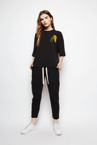 Muzca Essential Molotov Tees Modest Relaxed Fit Black T-Shirt with Embroidery on Left Chest in Supima Cotton and Spandex